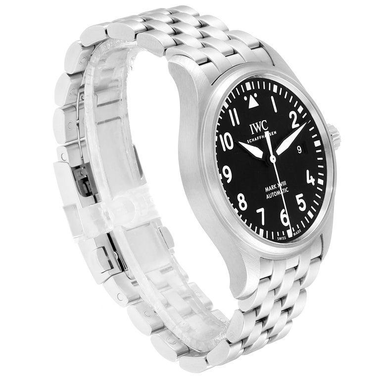 IWC Pilot Mark XVIII Black Dial Steel Men's Watch IW327011 Card In Excellent Condition For Sale In Atlanta, GA