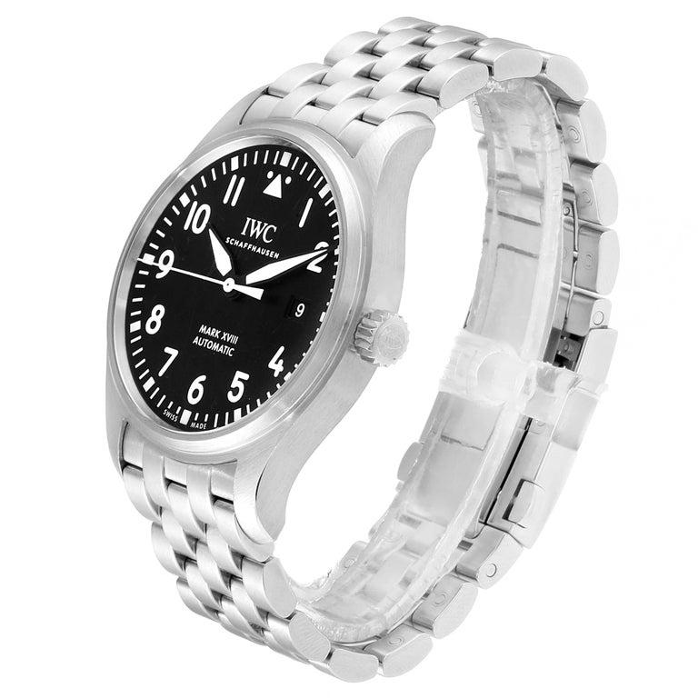 IWC Pilot Mark XVIII Black Dial Steel Men's Watch IW327011 Card For Sale 1