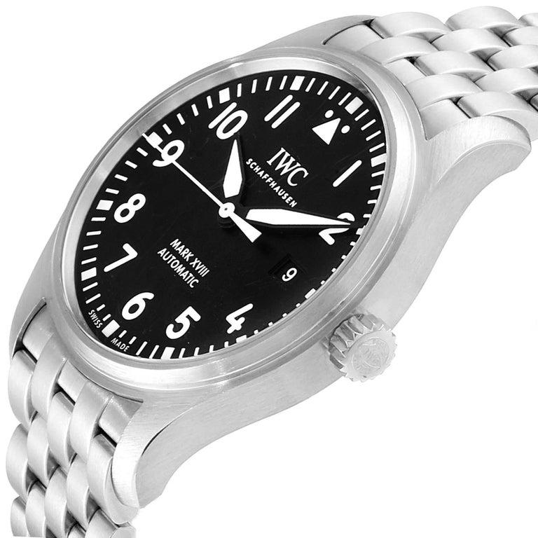 IWC Pilot Mark XVIII Black Dial Steel Men's Watch IW327011 Card For Sale 2