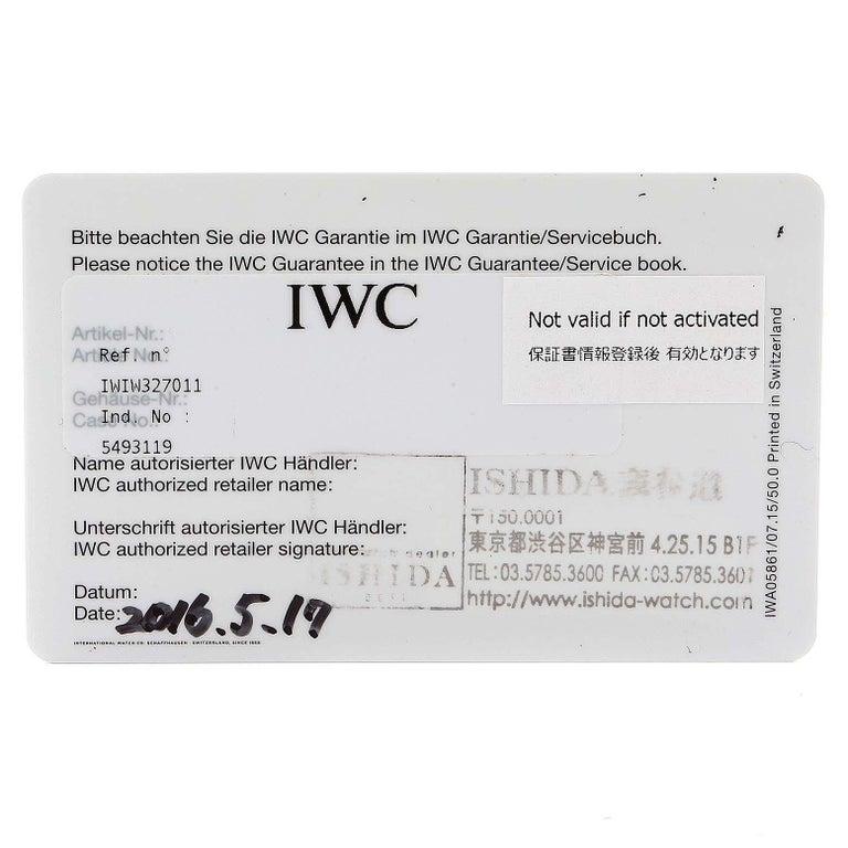 IWC Pilot Mark XVIII Black Dial Steel Men's Watch IW327011 Card For Sale 6