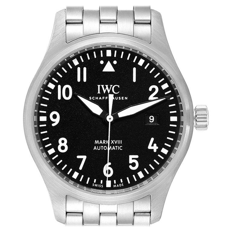 IWC Pilot Mark XVIII Black Dial Steel Men's Watch IW327011 Card For Sale