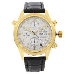 IWC Pilot's Doppel Chronograph 18K Gold White Enamel Dial Men's Watch IW3711-11