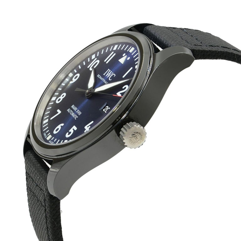 super popular 54205 ed036 IWC Pilots Mark XVIII Black Ceramic Blue Arabic Dial Automatic Watch  IW324703