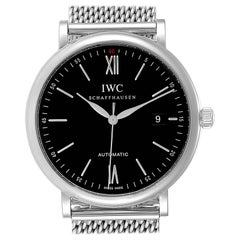 IWC Portofino Black Dial Mesh Bracelet Steel Men's Watch IW356506