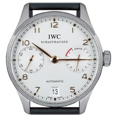 IWC Portugieser Automatic 7 Day Stainless Steel Silver Dial B&P IW500704