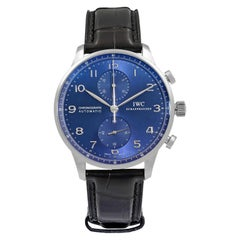 IWC Portugieser Chronograph Edition 150 Years Steel Blue Dial Men Watch IW371601