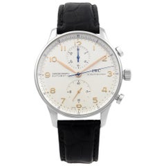 IWC Portugieser Leather Steel Silver Arabic Dial Automatic Men's Watch IW371604