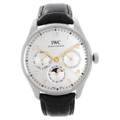 IWC Portugieser Perpetual Calendar Steel Silver Dial Mens Watch IW344203