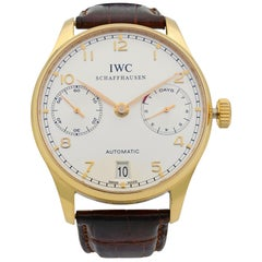 IWC Portuguese 18k Gold Silver Dial Power Reserve Automatic Men's Watch IW500101