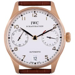IWC Portuguese 7 Day Gents 18 Karat Rose Gold Silver Dial IW500101