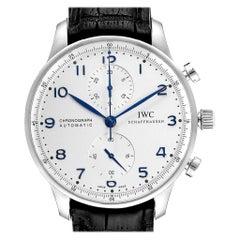 IWC Portuguese Chrono Silver Dial Blue Hands Steel Men's Watch IW371446