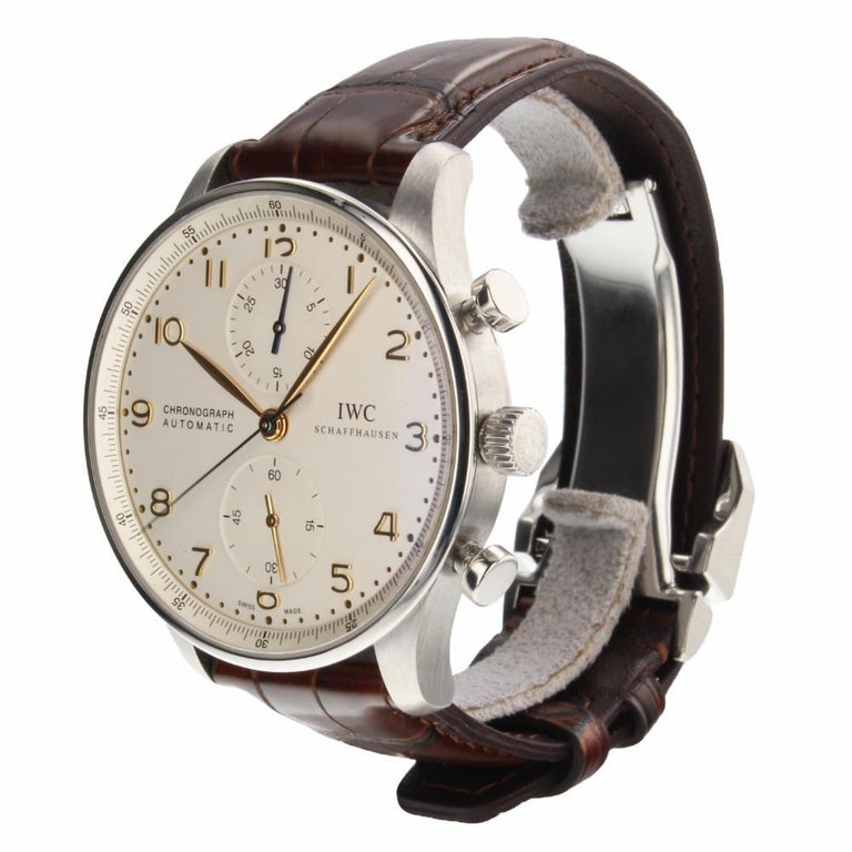 IWC Portuguese Reference #:IW371445. IWC Portuguese Chronograph Automatic Steel 40 mm Watch IW371445 Mint With Box. Verified and Certified by WatchFacts. 1 year warranty offered by WatchFacts.