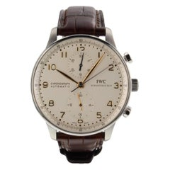 IWC Portuguese Chronograph Automatic Steel Watch IW371445 Mint