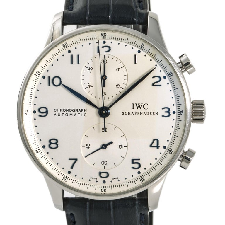 Women's IWC Portuguese IW371446 Blue Men's Automatic Watch Chronograph Stainless For Sale