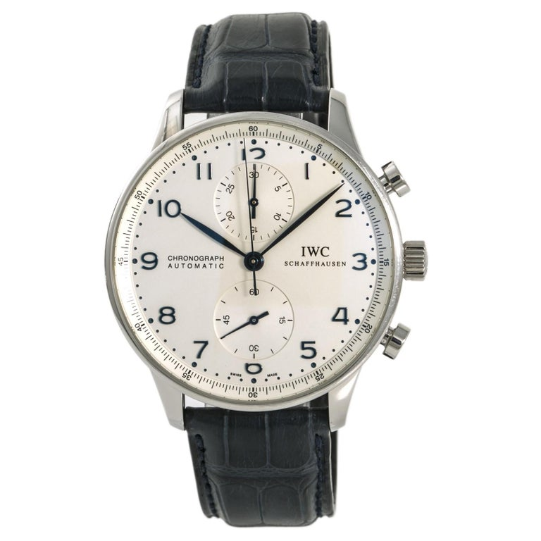 IWC Portuguese IW371446 Blue Men's Automatic Watch Chronograph Stainless For Sale