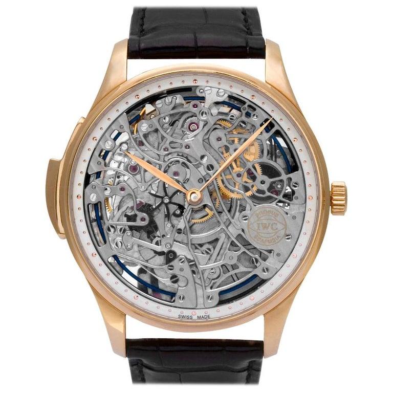 IWC Portuguese IW524101 18 Karat Rose Gold Skeleton Dial Manual Watch For Sale