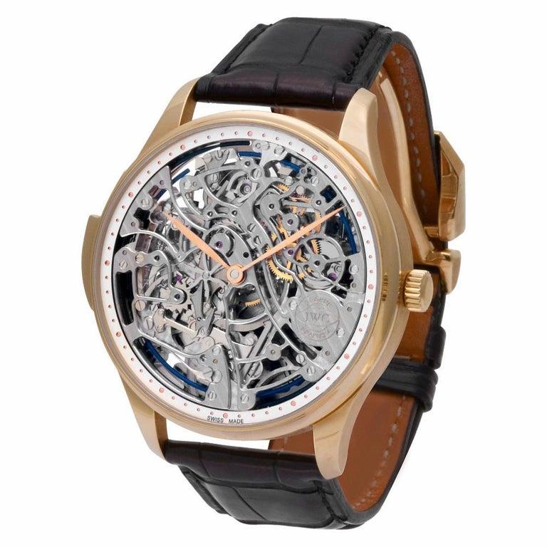Modern IWC Portuguese IW524101 18 Karat Rose Gold Skeleton Dial Manual Watch For Sale
