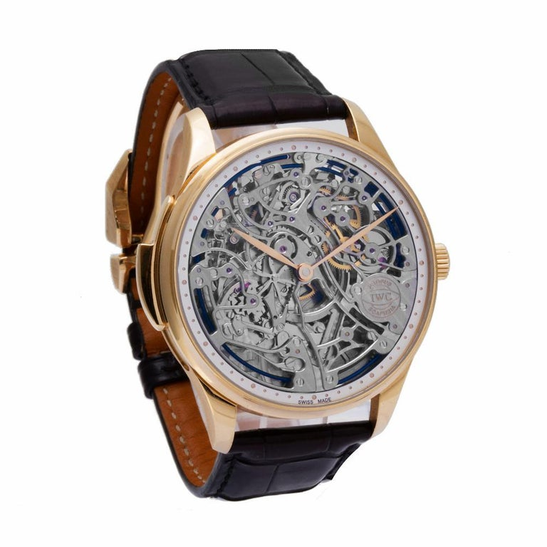 IWC Portuguese IW524101 18 Karat Rose Gold Skeleton Dial Manual Watch In Excellent Condition For Sale In Miami, FL