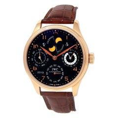 IWC Portuguese Perpetual Calendar 18k Rose Gold Automatic Men's Watch IW502103