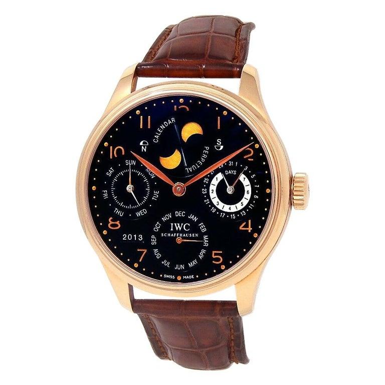 IWC Portuguese Perpetual Calendar 18k Rose Gold Automatic Men's Watch IW502103 For Sale