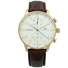 IWC Portugueser 18K Rose Gold Arabic Silver Dial Automatic Men's Watch IW371480