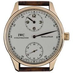 IWC Rose Gold Silver Dial Portuguese Regulateur Manual Wind Wristwatch