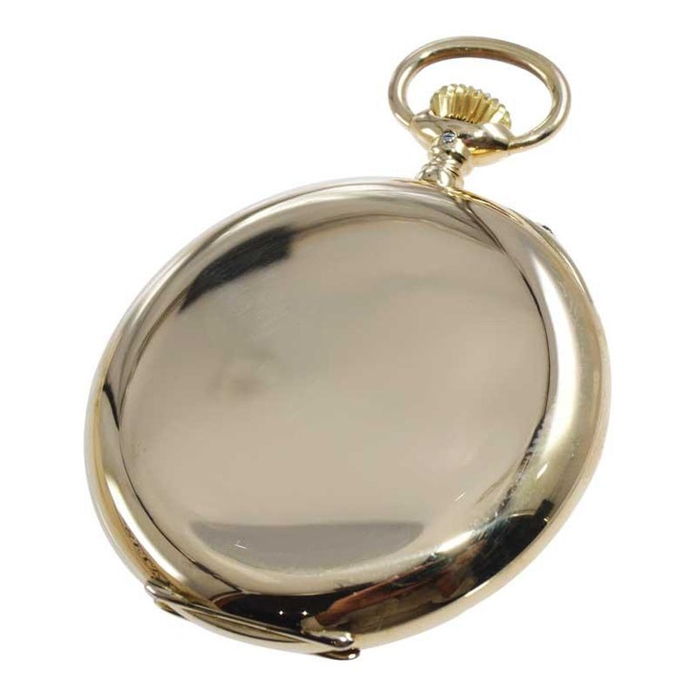 I.W.C. Schaffhausen 18Kt. Yellow Gold Open Faced Pocket Watch, Circa 1910 In Excellent Condition For Sale In Long Beach, CA