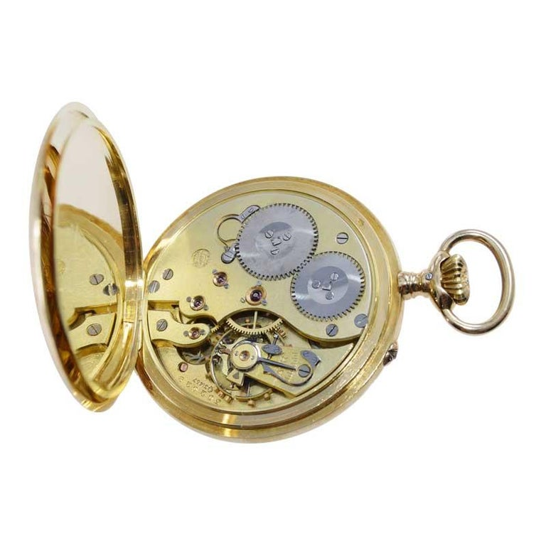 I.W.C. Schaffhausen 18Kt. Yellow Gold Open Faced Pocket Watch, Circa 1910 For Sale 2
