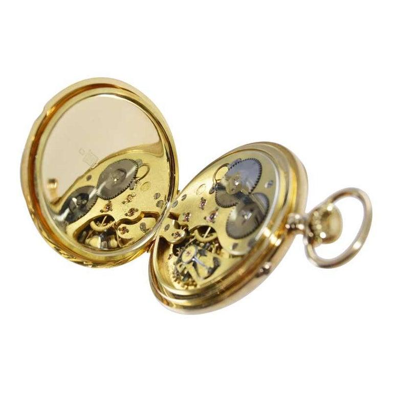 I.W.C. Schaffhausen 18Kt. Yellow Gold Open Faced Pocket Watch, Circa 1910 For Sale 3