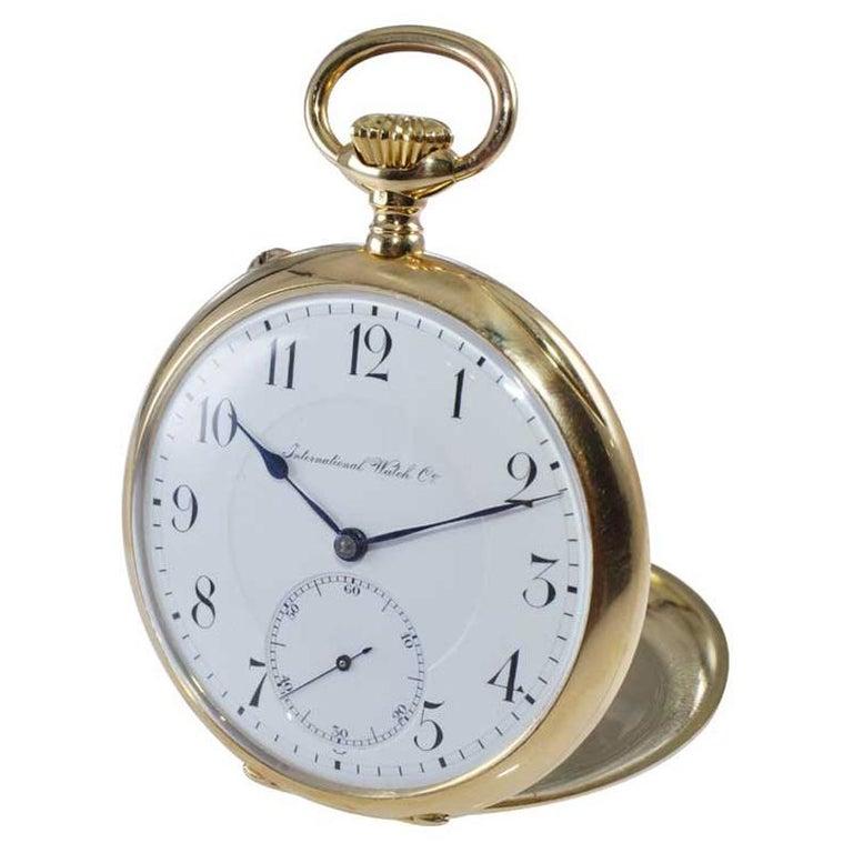 I.W.C. Schaffhausen 18Kt. Yellow Gold Open Faced Pocket Watch, Circa 1910 For Sale