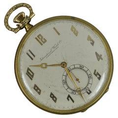 IWC Schaffhausen Art Deco Solid 14 Carat Gold Pocket Watch, Working