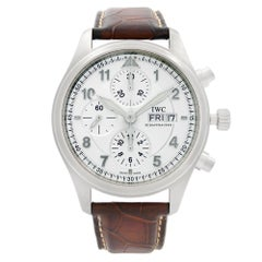 IWC Spitfire Pilot Chronograph Steel Silver Dial Automatic Men's Watch IW371702