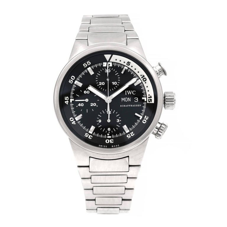 IWC International Watch Company stainless steel Aquatimer Automatic Chronograph wrist watch. All original, with full size steel band.  Stainless Steel 179.3 grams Length: 8 3/8 inches – can be shortened Length: 50mm Width: 42mm Band width at case:
