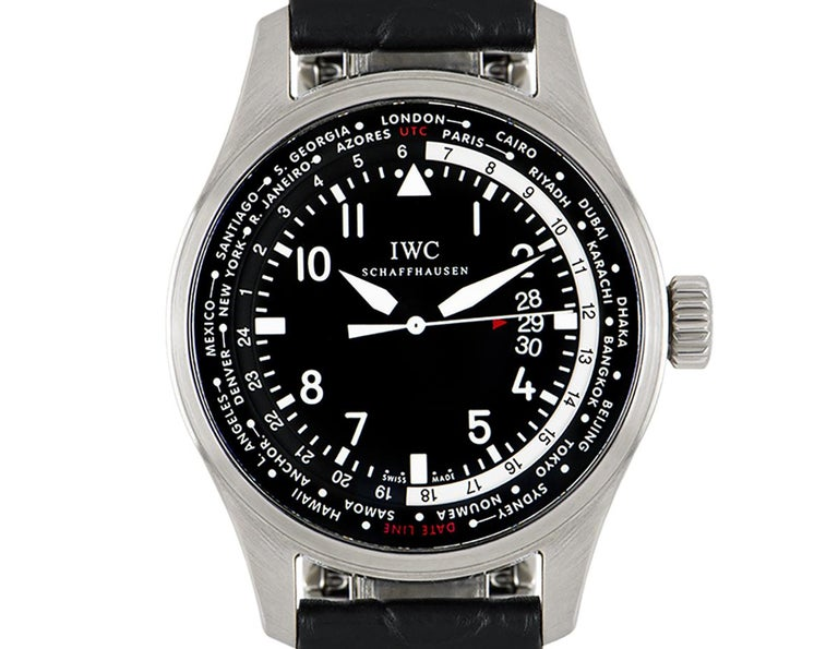 A 45 mm stainless steel Pilot's Watch Worldtimer originally released in 2012 by IWC. Features a black dial with a date display and 24-hour display for the Worldtimer function. An original black leather strap comes with an original stainless steel