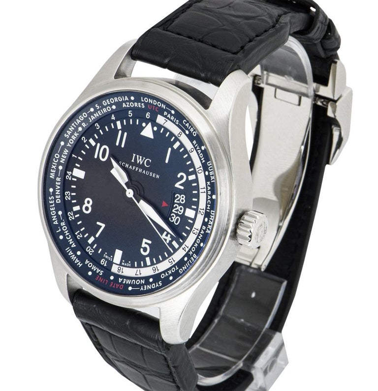 IWC Stainless Steel Pilot's Gents Watch Worldtimer IW326201 In Excellent Condition For Sale In London, GB