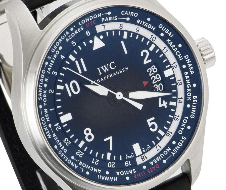 Men's IWC Stainless Steel Pilot's Gents Watch Worldtimer IW326201 For Sale