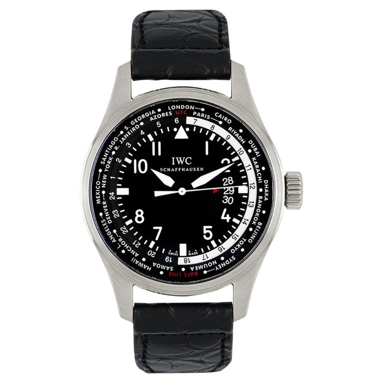 IWC Stainless Steel Pilot's Gents Watch Worldtimer IW326201 For Sale