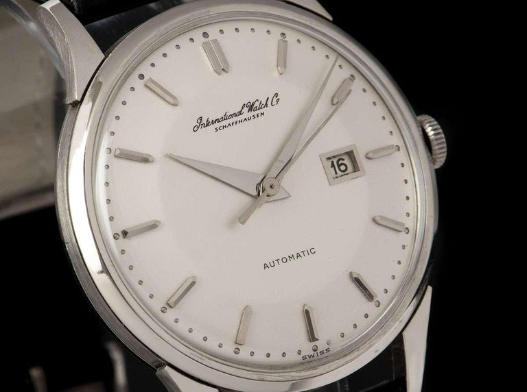 IWC Vintage Men's Dress Watch Platinum Silver Dial In Excellent Condition For Sale In London, GB