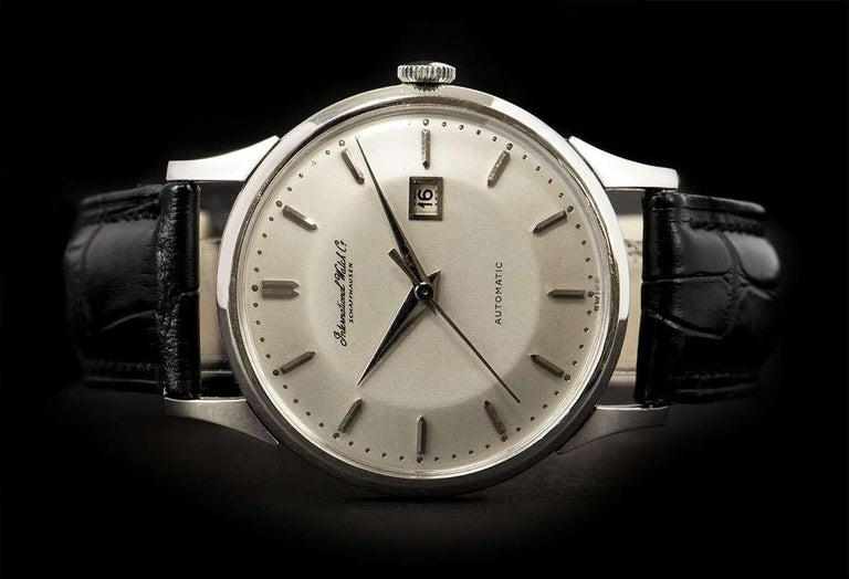 IWC Vintage Men's Dress Watch Platinum Silver Dial For Sale 1