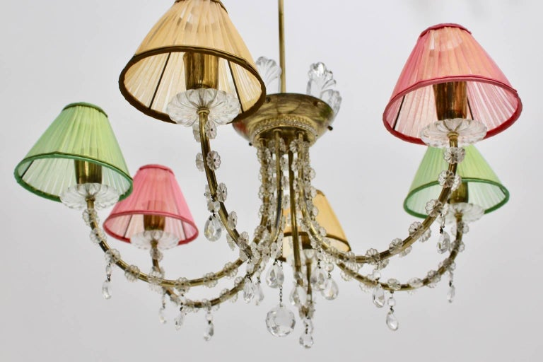 Midcentury Modern Vintage Brass Lobmeyr Crystal Chandelier, Vienna, circa 1945 In Good Condition For Sale In Vienna, AT