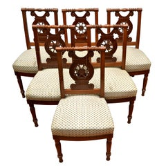 Set of Six Directoire Mahogany Dining Chairs Attributed to Georges Jacob
