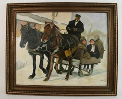 Figurative Landscape Horse Drawn Sleigh Ride