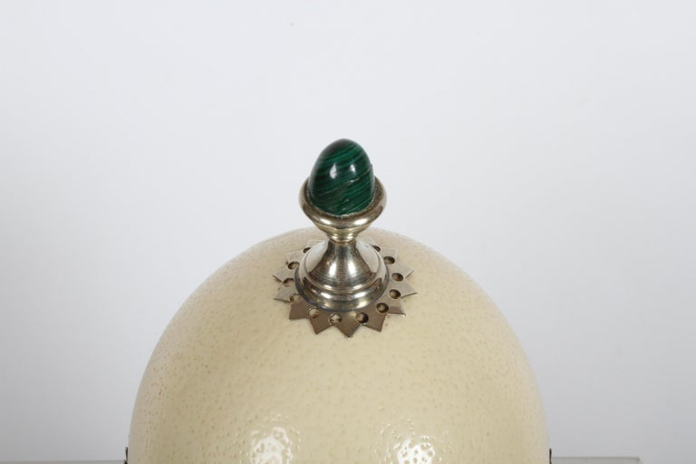 Late 20th Century J. Antony Redmile London Ostrich Egg w/ Malachite Finial Silver Plated Box 1970s For Sale