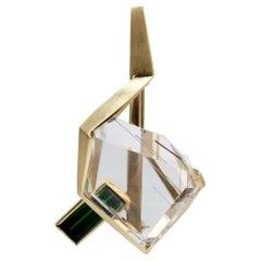 J. Arnold Frew Modernist 14 Karat Gold, Tourmaline, and Rutilated Quartz Brooch
