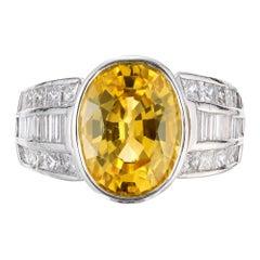 J. B. Star 5.29 Carat Oval Yellow Sapphire Diamond Platinum Engagement Ring