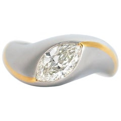 J. Birnbach 1.00 Carat F VS1 Marquise Diamond Solitaire Ring