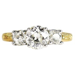 J. Birnbach 1.44 Carat Total Weight Old European Cut Diamond Three-Stone Ring