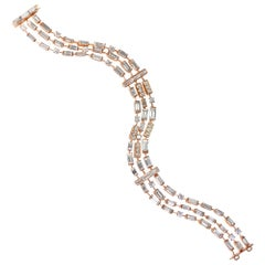 J. Birnbach 18 Karat Gold Straight Baguette and Brilliant Round Diamond Bracelet