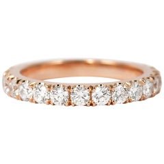 J. Birnbach 18 Karat Rose Gold Diamond Wedding Band 1.50 Carat