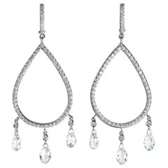J. Birnbach 18K White Gold Handmade Diamond Briolette & Pavé Chandelier Earrings
